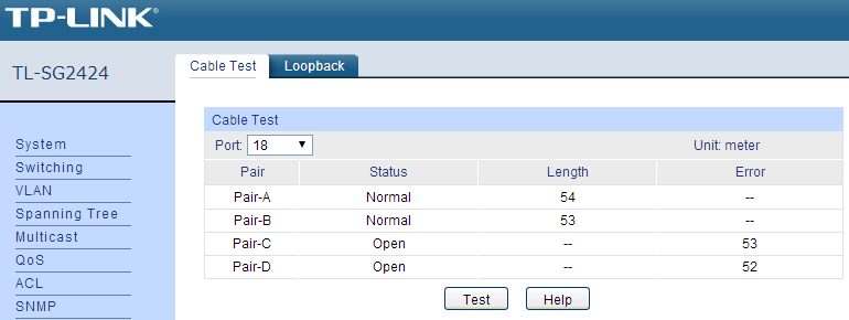 2014 02 11 switch tp-link tl-sg2424 polaczony z netbookiem acer link OK 100M